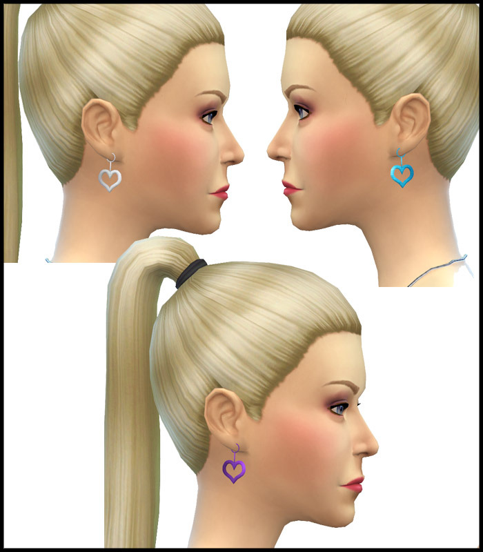 Heart Shaped Earrings New Mesh by Simista
