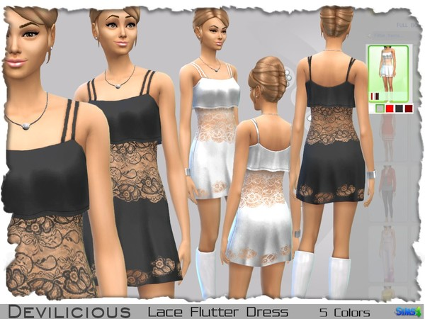 Lace Flutter Dress, 5 In 1 by Devilicious