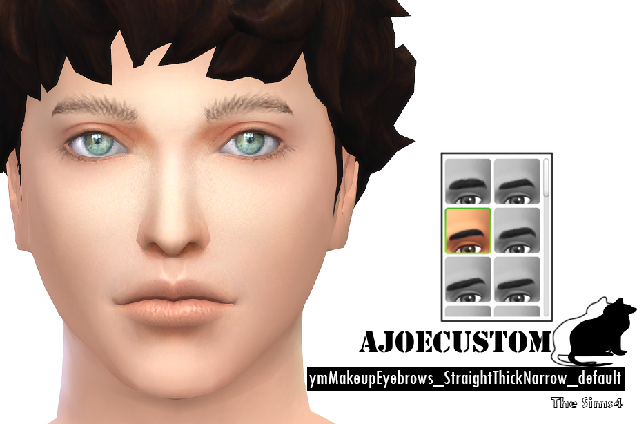 Eyebrows Straight Thick Narrow default for Males by AJoeCustom