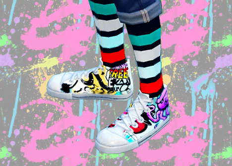 Graffiti Themed Canvas Hi Tops for Males by Everythingnotsims