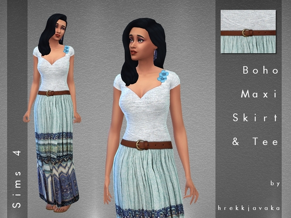 Erin Boho Maxi Skirt and Top Outfit by hrekkjavaka