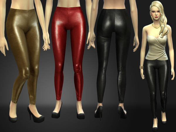 Stretch Leather Skinny Pants by Nia