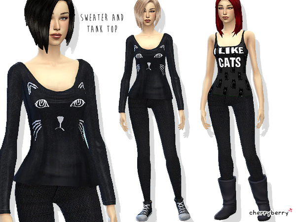 Cats everywhere! - Clothing set by CherryBerrySim