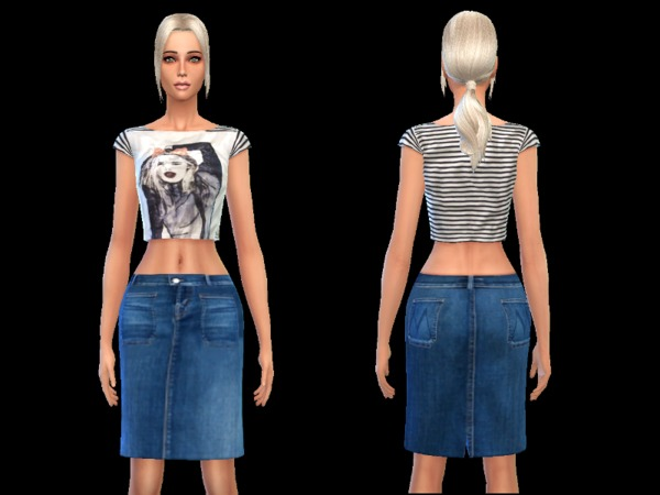 skirt denim knee pencil female by simsoertchen