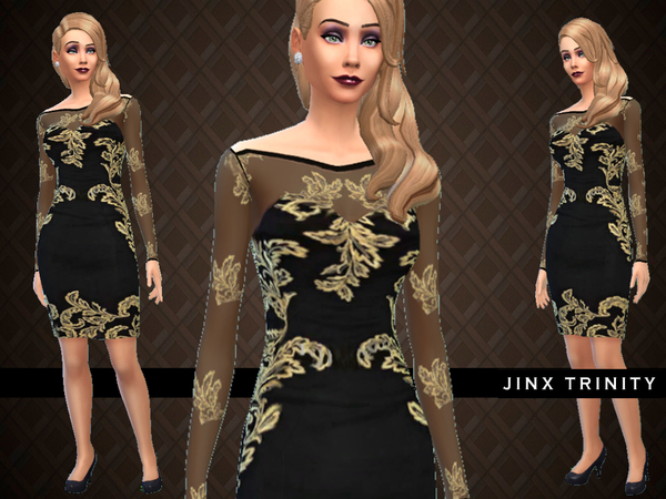 Appliqud silk dress by JinxTrinity