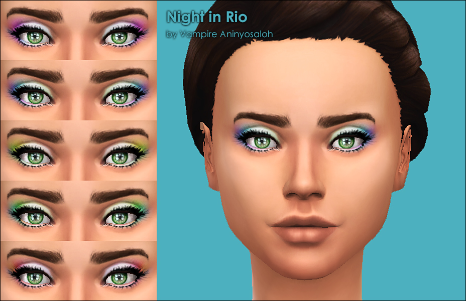 Night in Rio -5 eyeshadows + bonus eyelashes- by Vampire_aninyosaloh