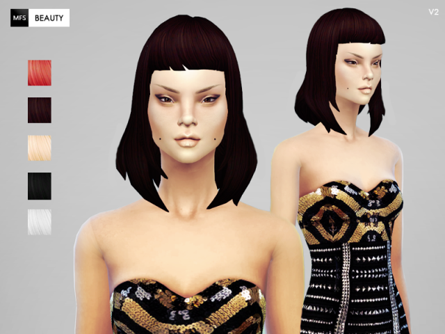 Cleo V2 hair with custom texture and 6 available colors by MissFortune Sims