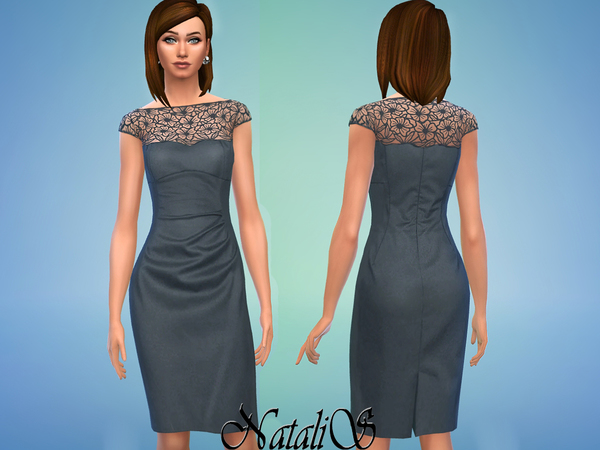 NataliS Lace overlay wool dress FA-YA