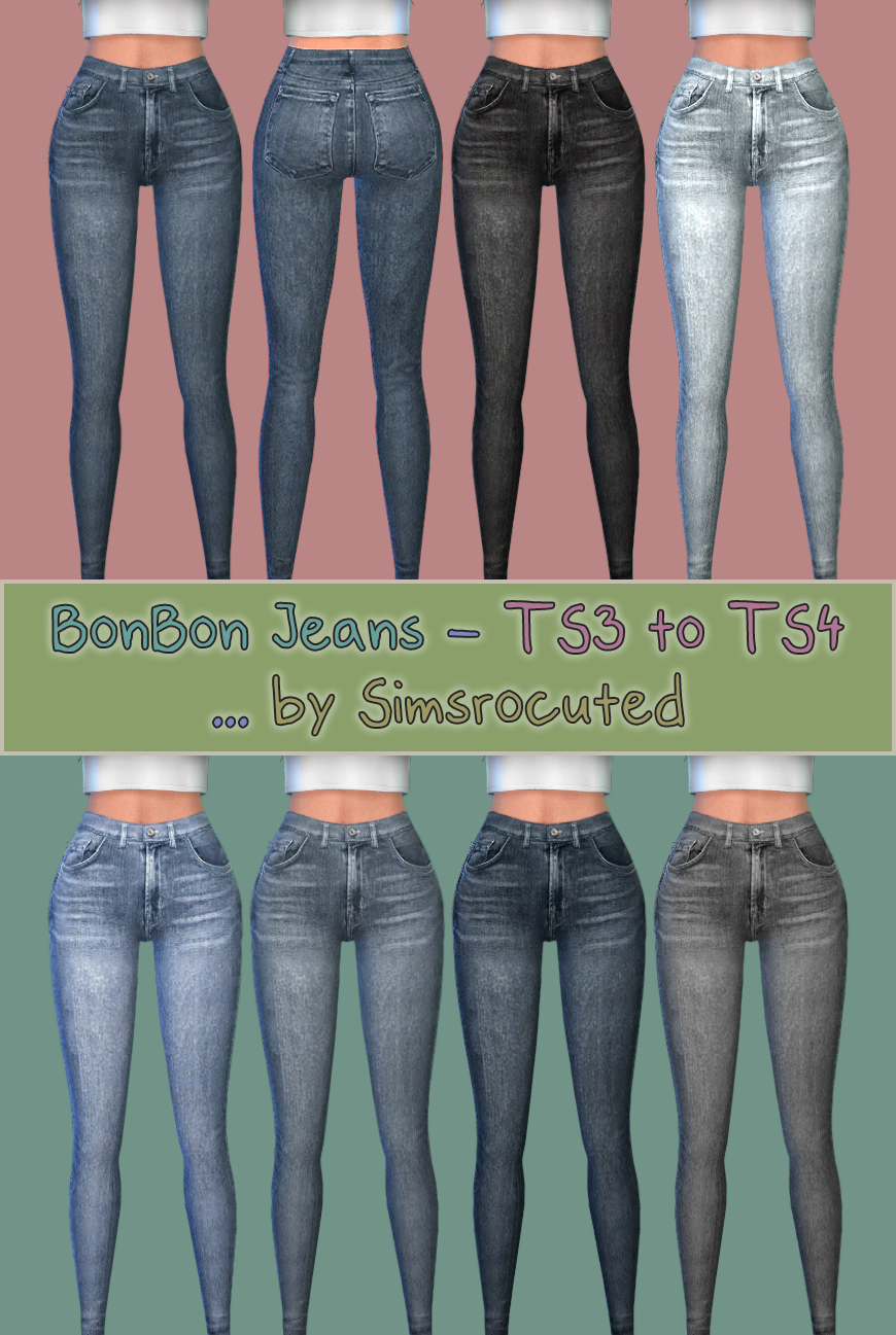 TS3 to TS4 - BonBon Jeans for Females by Simsrocuted