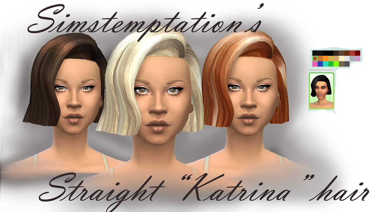 Katrina Hair - Choppy and Straight for Females by Simstemptation
