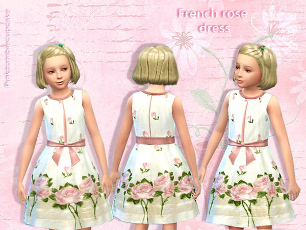French rose dress by Pinkzombiecupcakes