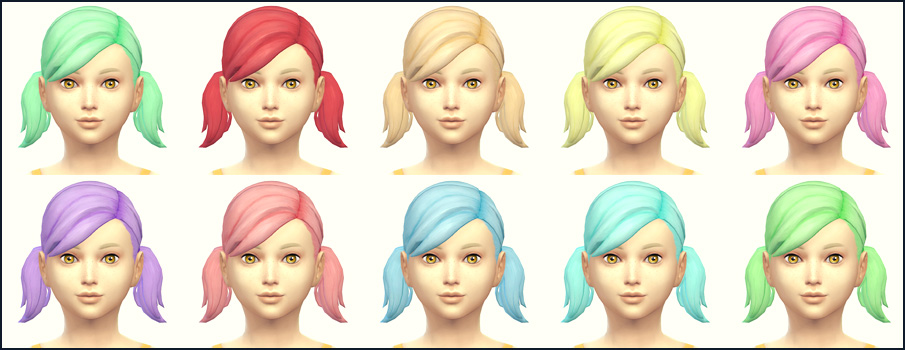 Playful Colors Pigtails for Girls by Sims4Downloads
