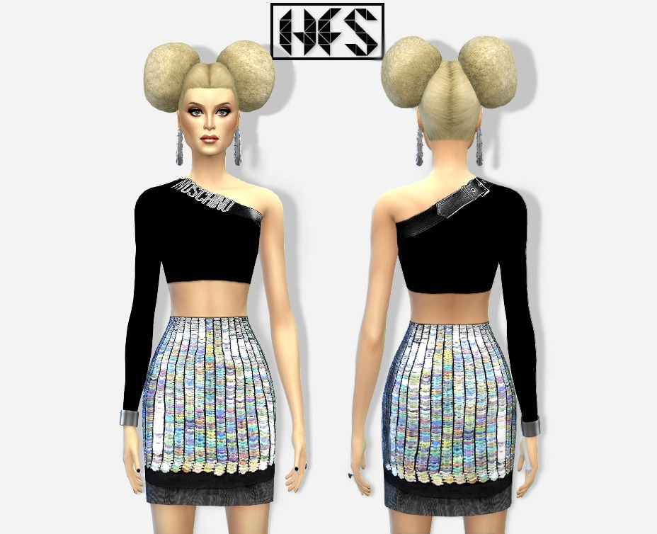 Top + Sequin pelmet skirt at HAUT FASHION SIMS