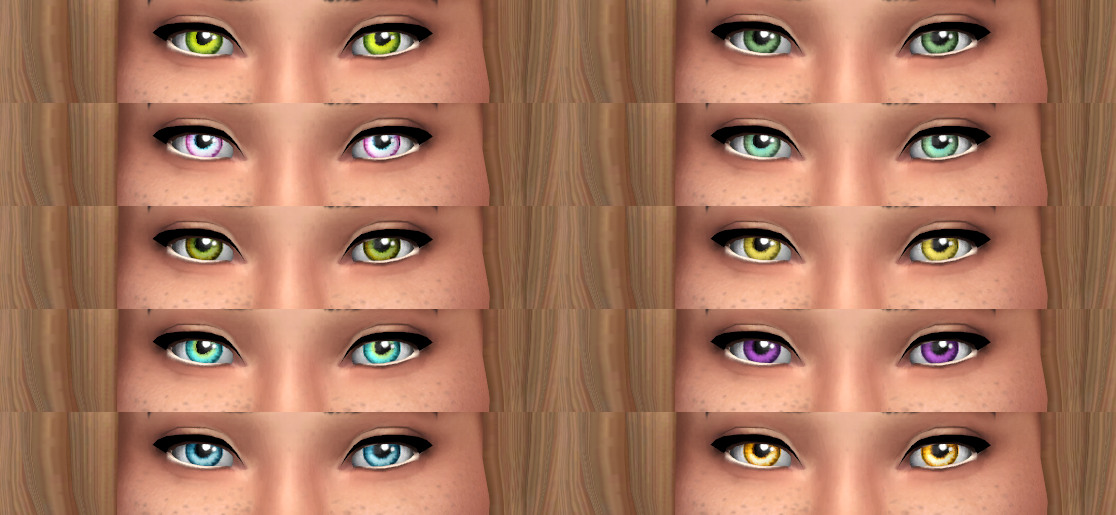 10 Non Default Recolors of BrntWaffles 2T4 Sarhra's Eyes by Sims I Guess