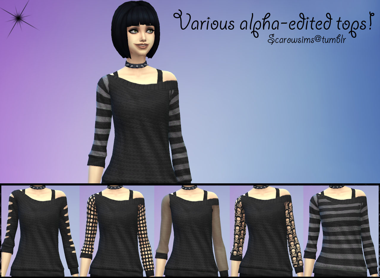 Various Alpha Edited Tops for Females by Scarowsims