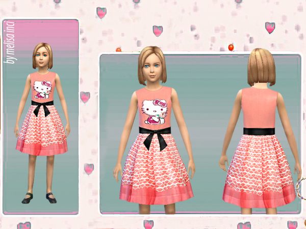 Girl Lace Skirt Kitty Printed Dress by melisa inci