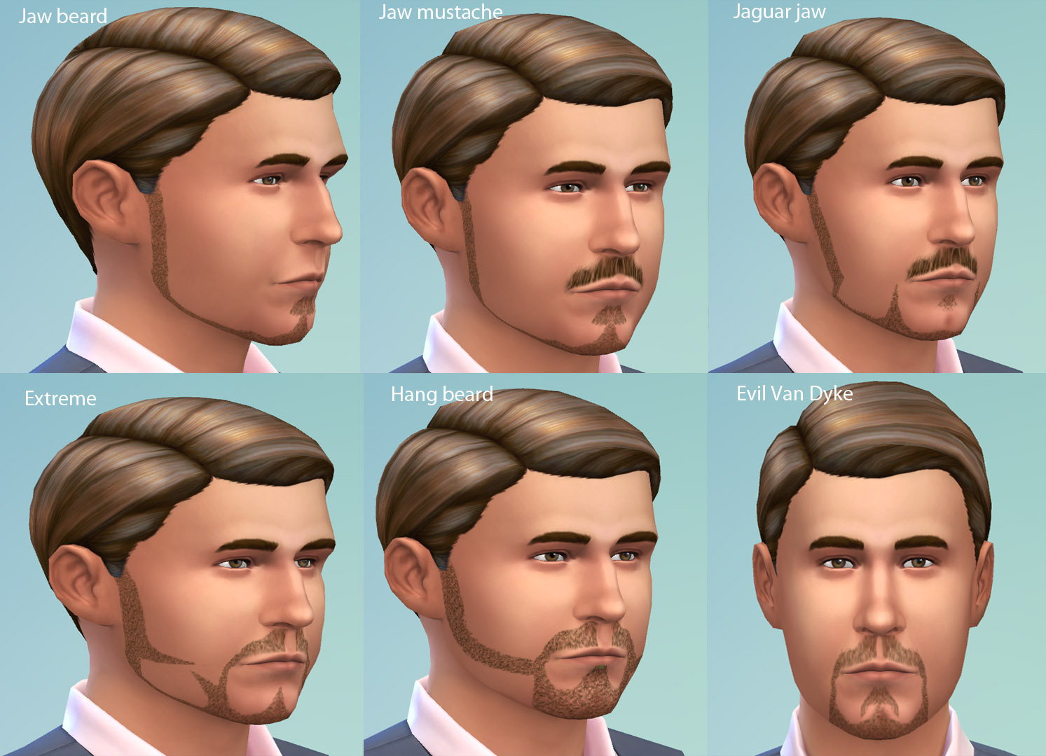 Six TS2 beards turned for TS4 by necrodog