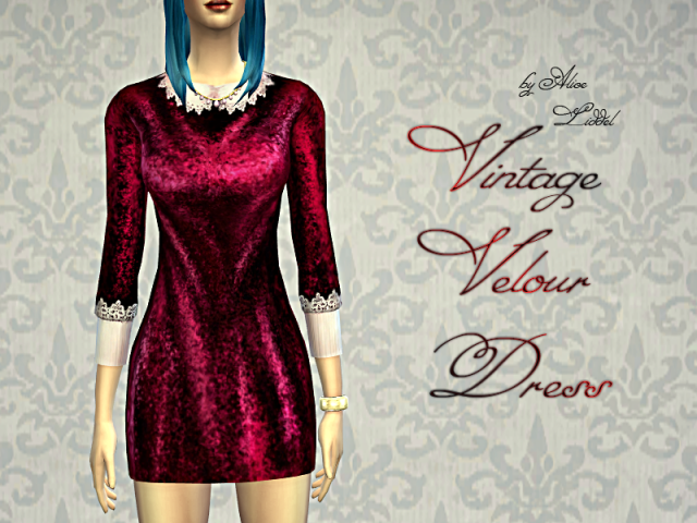 Vintage Velour Dress by Alice Liddel