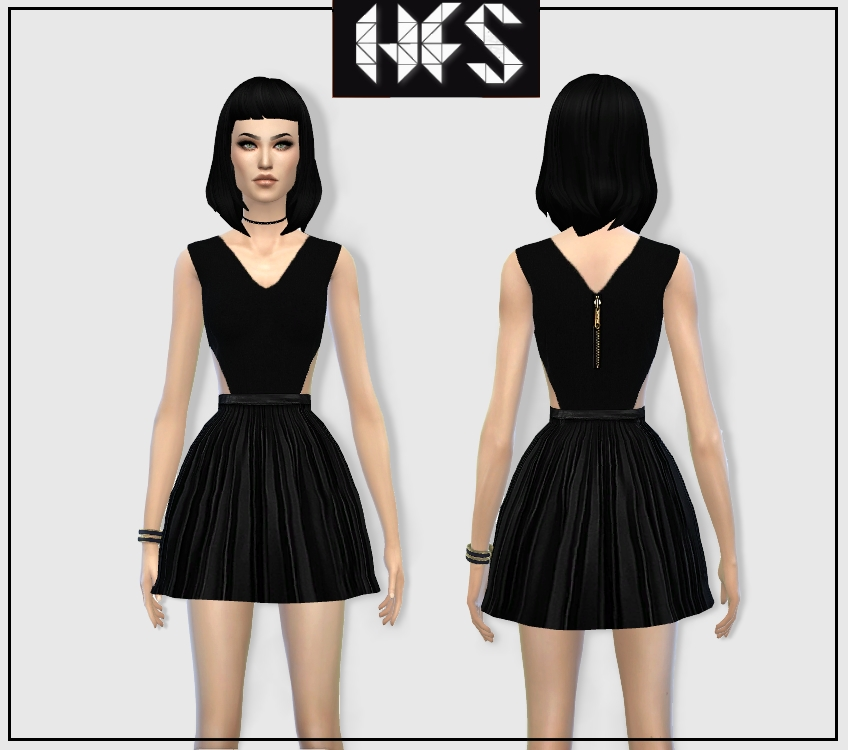 Pleated PU Skater Dress by Hautfashionsims4