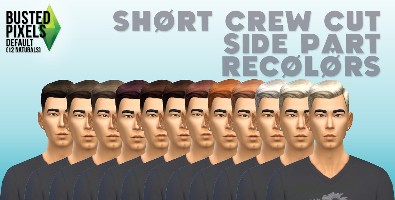 Short Crew Cut Hair 12 Colors by Busted Pixels