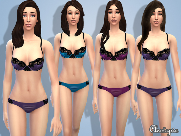 Set2- Midnight Fantasy Lingerie by Cleotopia