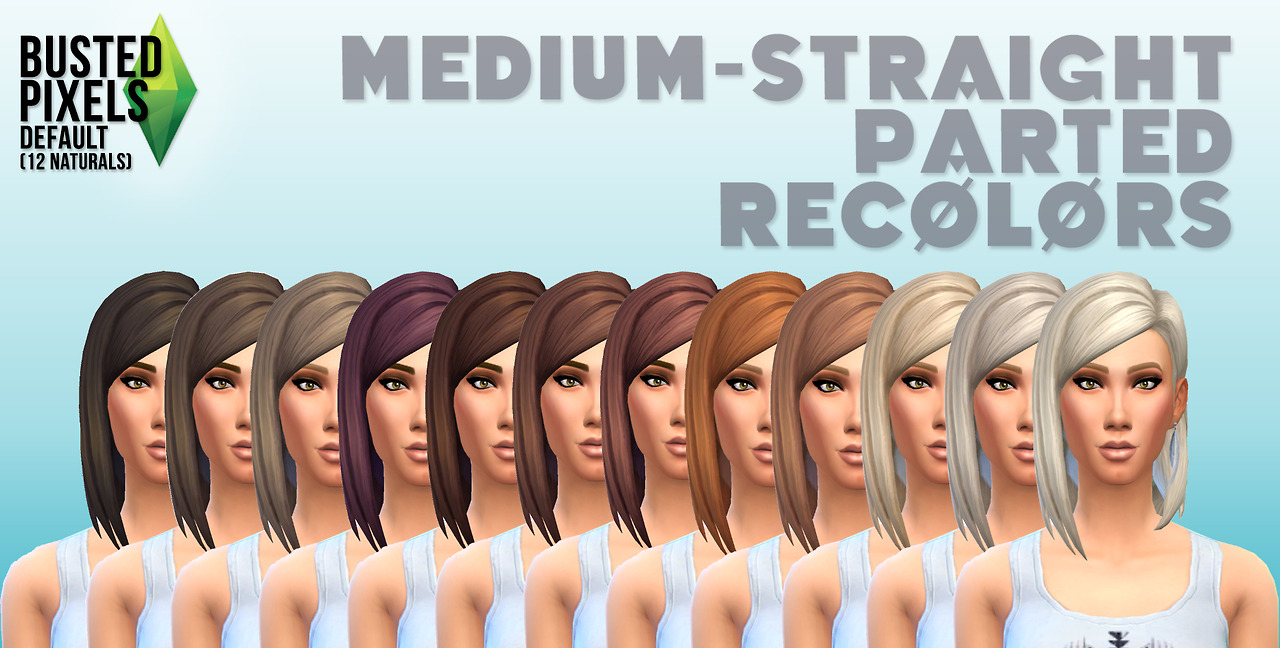 Medium Straight Part Hair 12 Recolors by Busted Pixels