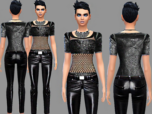 Punker synthetic leather jeans and top by Pinkzombiecupcakes