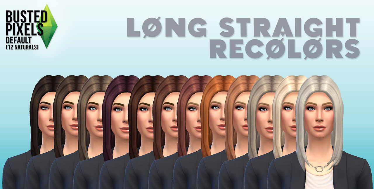 12 Long Straight Recolors by Busted Pixels