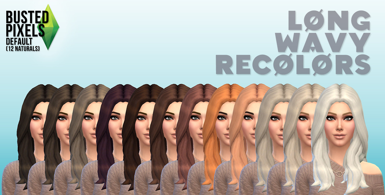 12 Long Wavy Hair recolors by Busted Pixels