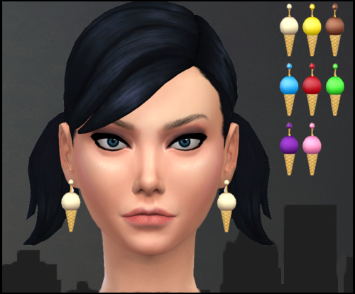 Default Maxis Cone Earring Retexture by Nekros