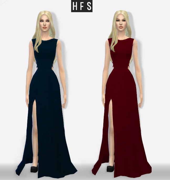 Maxi Dress Side Cutout by Hautfashionsims4