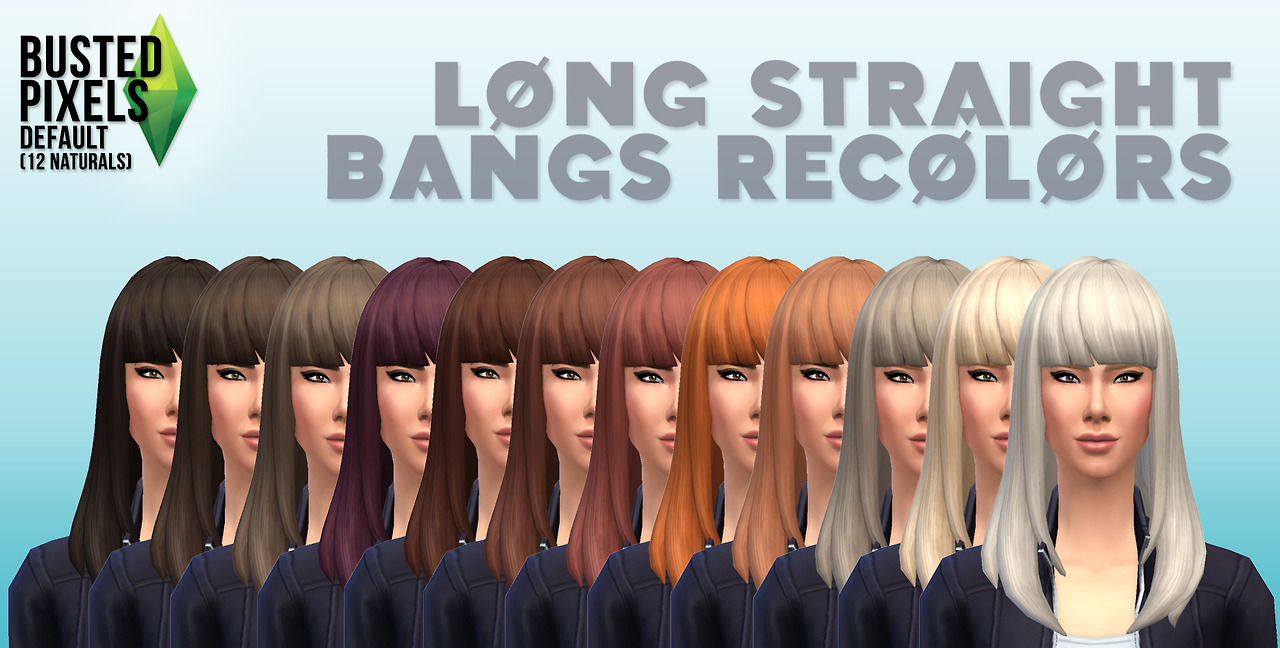 Long straight bangs recolors by Busted Pixels
