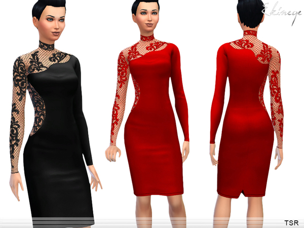 Lace Panel Midi Dress by ekinege
