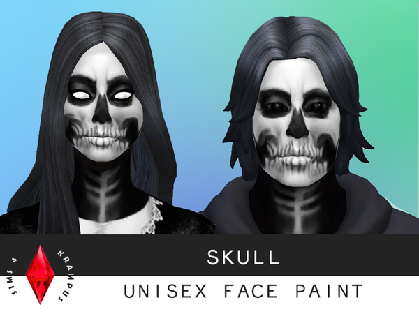 Unisex Skull Face Paint by SIms4Krampus