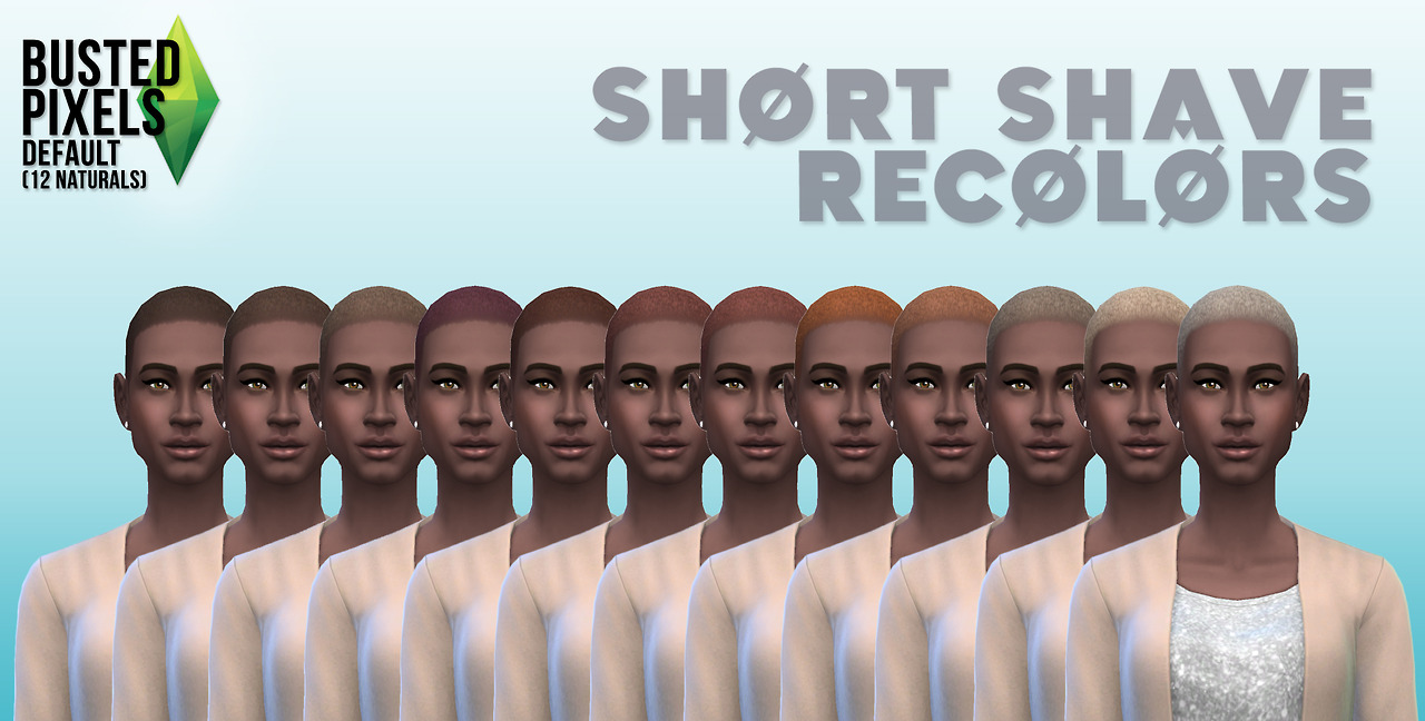 Short shave hair recolors by Busted Pixels