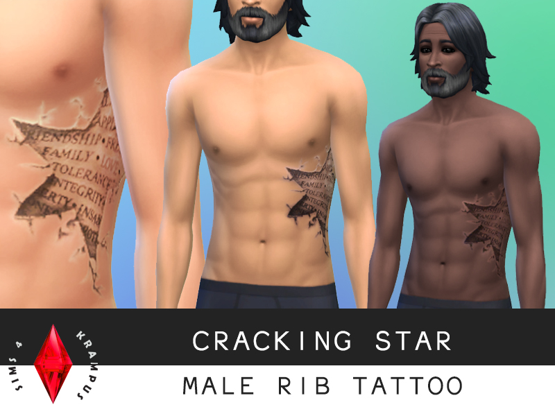 Cracking star rib tattoo for males at Sims 4 Krampus