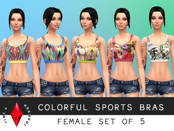 Set of 5 Female Sports Bras by SIms4Krampus