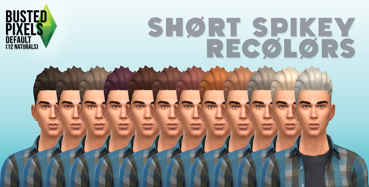 12 Hair Recolors for Males by BustedPixels