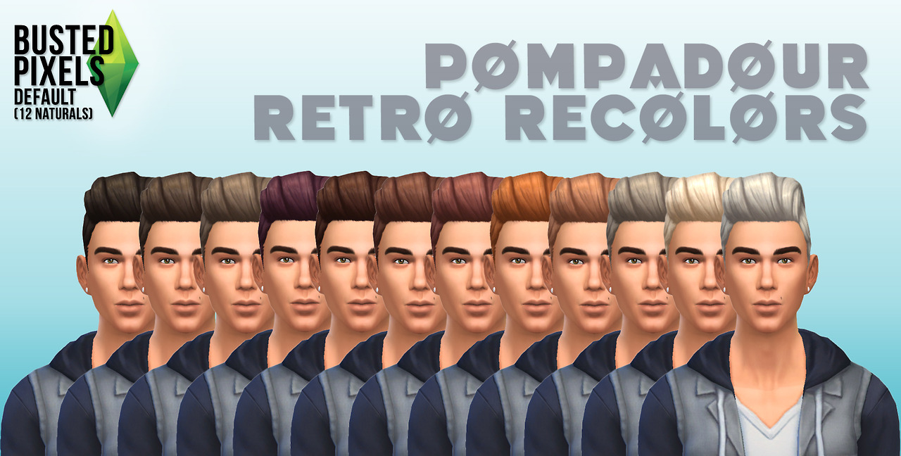 Pompadour Retro Recolors for Males by BustedPixels