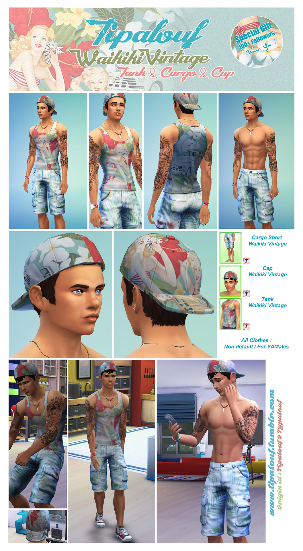 Waikiki Vintage Clothes (Cap - Cargo Shorts - Tank) by Tipalouf