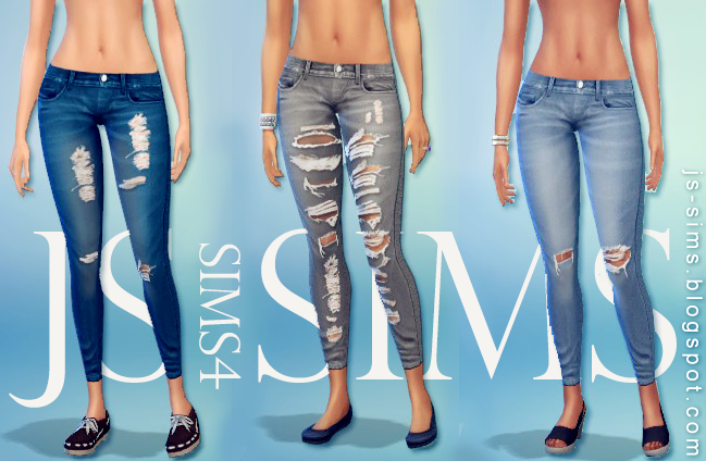 TS3 to TS4 Denim Ripped Jeans for Females by JS Sims 4