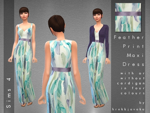 Feather Print Maxi Dress +Cardigan by hrekkjavaka
