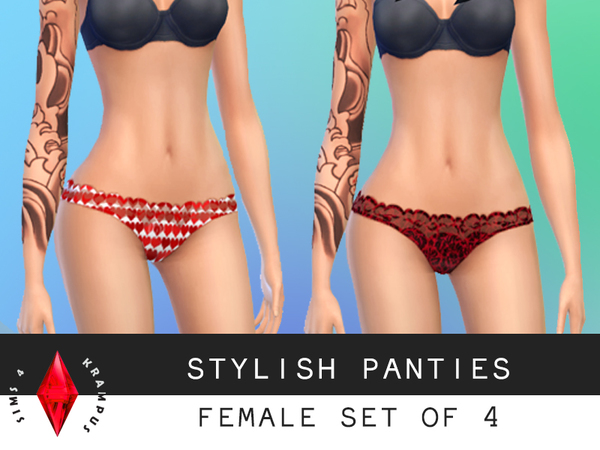 Female Set of 4 Panties by SIms4Krampus