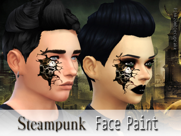 Steampunk face paint by Pinkzombiecupcakes