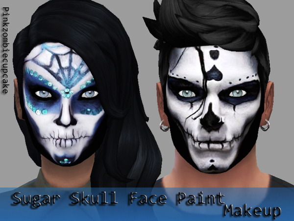 Sugar Skull Face Paint Makeup by Pinkzombiecupcakes