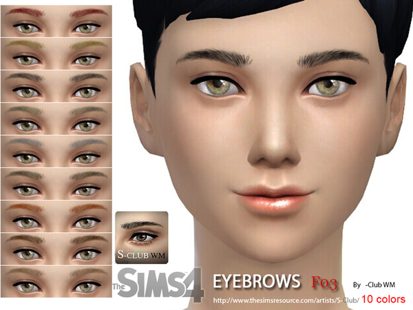 S-Club WM thesims4 Eyebrows F03