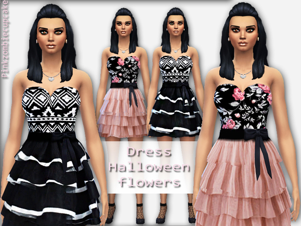 Dress Halloween flowers by Pinkzombiecupcakes