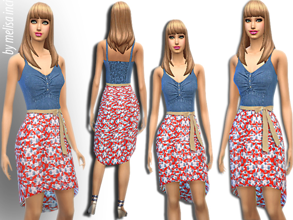 Floral Long Back Dress by melisa inci