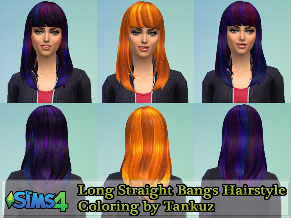 Long Straight Bangs Hairstyle Coloring by Tankuz