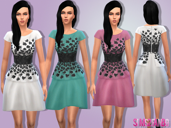 08 - Female floral dress by sims2fanbg